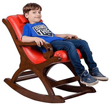 Cushioned Back and Seat Kids Teak Wood Rocking Chair