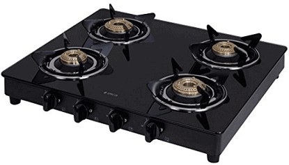 Elica Vetro Glass Top 4 Burner Gas Stove