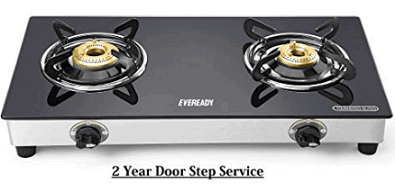 Eveready TGC2B Glass Top 2 Burner Gas Stove - Black