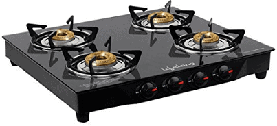 Lifelong Glass Top Gas Stove, 4 Burner Gas Stove