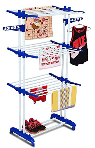 Parasnath 2 Poll Jumbo 3 Layer Clothes Hanger Rack