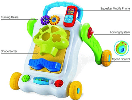 BAYBEE 2 in 1 Sit-to-Stand Learning Push and Pull Walker