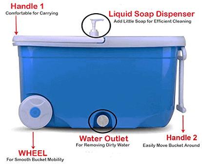 Hugo Bucket Magic Spin Double Drive Hand Pressure Microfiber Mop