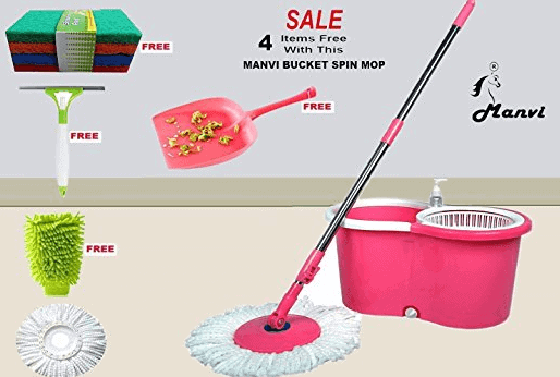 MANVI Bucket Wheel Spin Mop with 2 Microfiber Heads