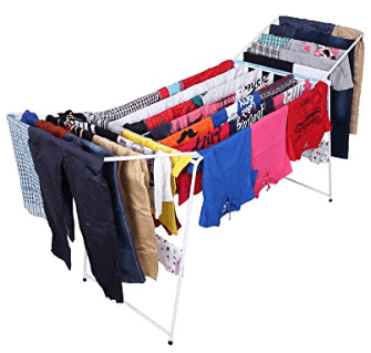 Kurtzy Foldable Garments Clothes Laundry Steel Dryer Hanger Rack Rail Organizer Stand for Kids Indoor and Outdoor
