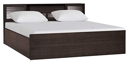 HomeTown Bolton Engineered Wood Box Storage King Size Bed in Wenge Colour