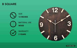 B Square Handcrafted Wooden Wall Clock