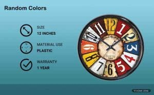 Random Colours Round Plastic Wall Clock