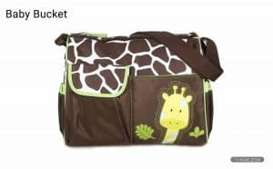 Baby Bucket Diaper Changing Bag - Green Giraffe Pattern