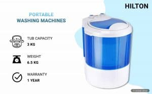 Hilton 3 kg Single-Tub Washing Machine with Dryer