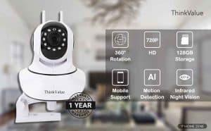 ThinkValue T8855 Wireless HD IP WiFi CCTV Indoor Security Camera