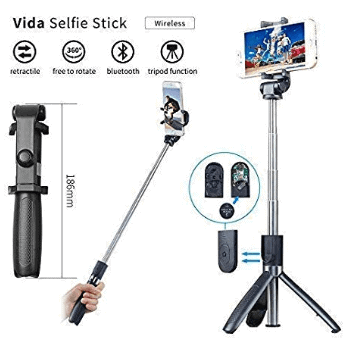 Vida Tripod Selfie Stick with Wireless Bluetooth Remote