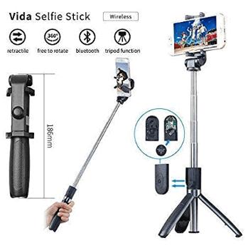 Vida Tripod Selfie Stick with Wireless Bluetooth Remote