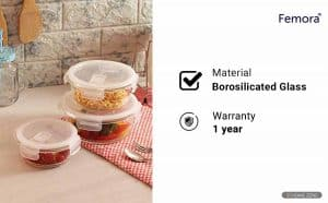 Femora Borosilicate Round Glass Container with Air Vent Lid