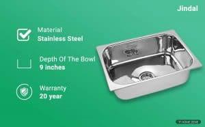 Jindal Kitchen Sink Stainless Steel Sink, 204 grade steel