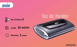 ANSIO Air Purifier HEPA Active Carbon Filter UV Lamp Ioniser