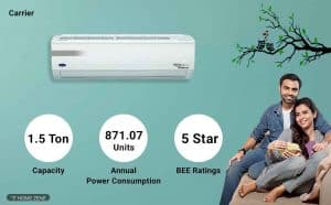 Carrier R32,CAI18EK5R39F0 1.5-Ton 5-Star Inverter Split AC