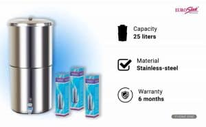 EuroSleek 25-Litres Gravity Based Non-electric Water Filter