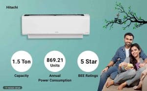 Hitachi RSB518HBEA 1.5-Ton 5-Star Inverter Split AC