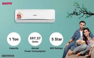 Sanyo SI/SO-10T5SCIA 1-Ton 5-star Inverter Split AC