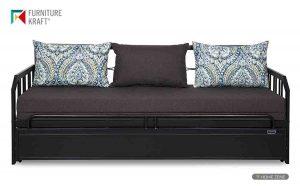 FurnitureKraft Three Seater Sofa-Cum-Bed with Mattress