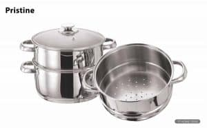 Pristine Tri Ply Induction base Stainless Steel 3 Tier Multi Purpose Steamer