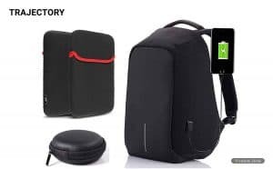 Trajectory Fabric Black Anti Theft Bag For Men and Women