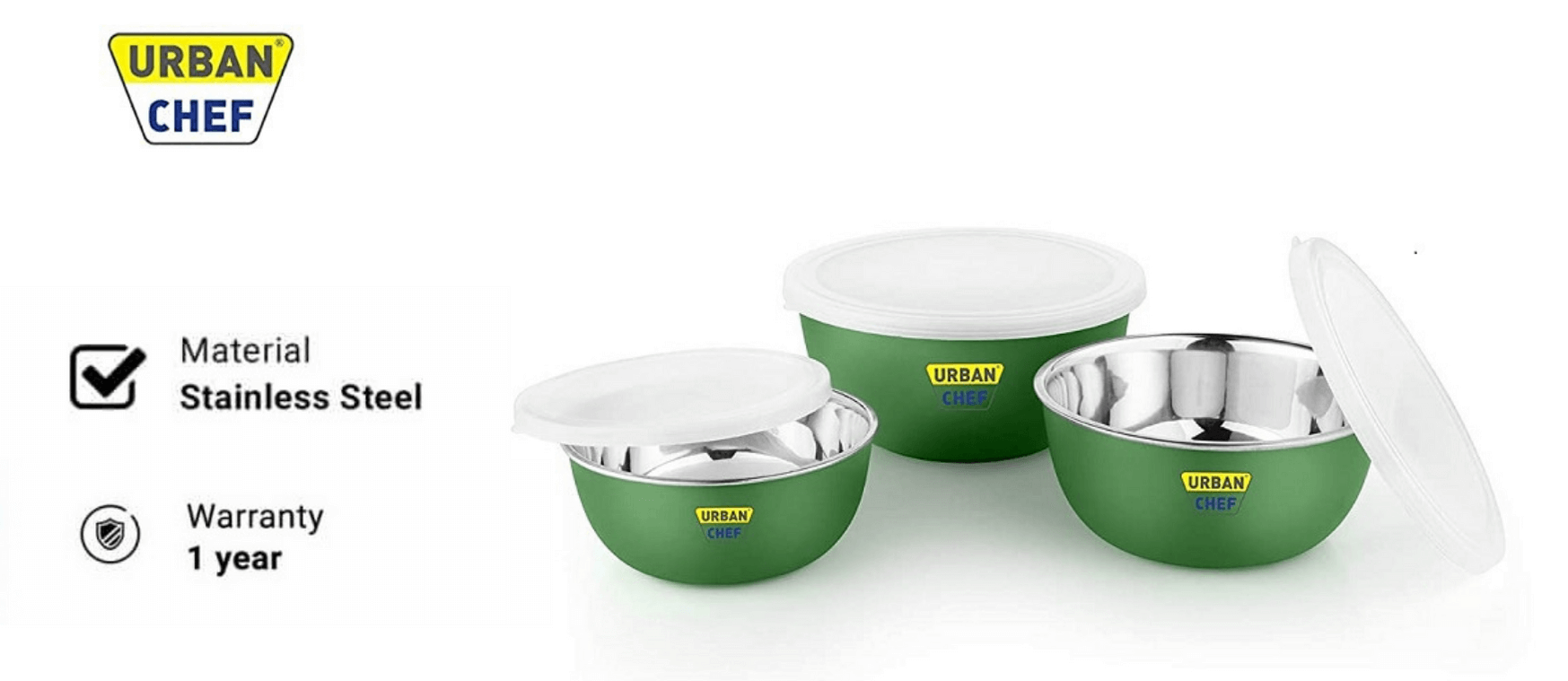 Urban Chef Flora Stainless Steel Microwave Safe Bowl Set