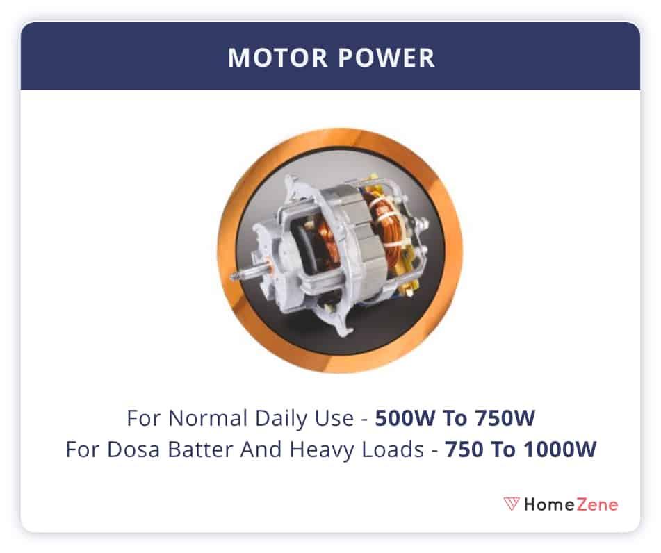 Mixer Grinder motor Power