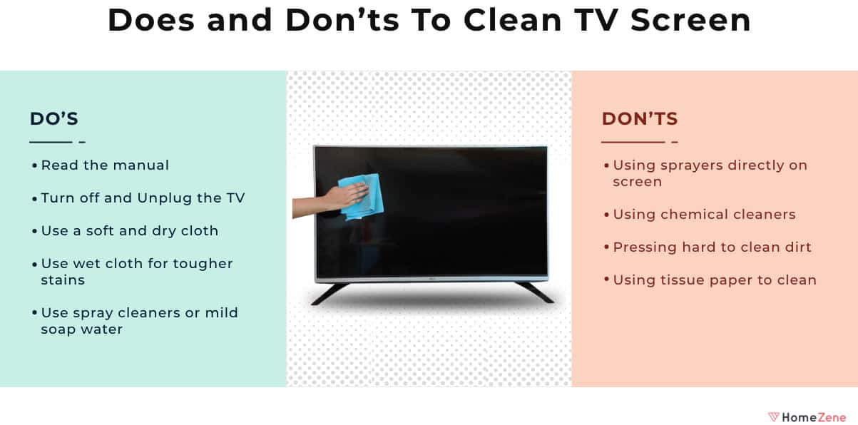 Do and Dont to clean a tv